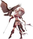1girl animal arm_tattoo arrow ass belt between_fingers bikini bird black_gloves black_legwear blue_eyes blush boots bow_(weapon) braid breasts brown_belt brown_footwear brown_gloves dark_skin facial_mark full_body gloves grin highres holding holding_arrow holding_bow_(weapon) holding_weapon holster knee_boots knife koflif large_breasts long_hair mismatched_gloves multicolored_hair original partly_fingerless_gloves ponytail red_bikini redhead shadow_seven shoe_soles simple_background single_thighhigh skindentation smile solo standing streaked_hair swimsuit tattoo thigh-highs thighhighs_under_boots weapon white_background white_hair yugake