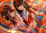 2girls autumn black_hair bow brown_hair bug butterfly calligraphy_brush fate/grand_order fate_(series) hair_bow insect japanese_clothes kimono layered_clothing layered_kimono long_hair multiple_girls murasaki_shikibu_(fate) paintbrush paper purionpurion sei_shounagon_(fate) smile very_long_hair violet_eyes yellow_eyes