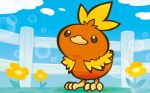 bird bird_focus blue_sky clouds cloudy_sky creature day fence flower full_body gen_3_pokemon mahou no_humans official_art outdoors pokemon pokemon_(creature) pokemon_trading_card_game sky standing third-party_source torchic
