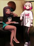 2girls aqua_hair arm_rest bangs bike_shorts black_hair black_legwear black_shirt black_shorts blunt_bangs bob_cut boots closed_mouth clothes_writing crossed_legs dark_skin gradient_hair green_eyes grin high_heel_boots high_heels highres hime_(splatoon) humanization iida_(splatoon) indoors instrument jewelry leggings light_frown looking_at_viewer multicolored_hair multiple_girls necklace piano pink_footwear pink_hair print_scarf scarf shirt shoes short_hair short_shorts short_sleeves shorts single_vertical_stripe sitting smile sneakers splatoon_(series) standing t-shirt two-tone_hair watch watch white_footwear white_hair white_shirt wuju_(1198979953) yellow_eyes