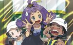 1boy 2girls acerola_(pokemon) ishikawa_hideki multiple_girls official_art pokemon pokemon_(game) pokemon_sm pokemon_trading_card_game preschooler_(pokemon)