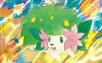 :d creature flower full_body gen_4_pokemon green_eyes happy looking_to_the_side no_humans official_art open_mouth pokemon pokemon_(creature) pokemon_trading_card_game sekio shaymin shaymin_(land) smile solo third-party_source