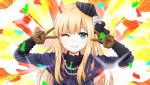 1girl bangs blonde_hair blue_eyes blue_jacket brown_gloves commentary double_v emotional_engine_-_full_drive eyebrows_visible_through_hair fate/grand_order fate_(series) flower fur_collar fur_trim gloves grin hair_ornament hat highres jacket kirukun long_hair long_sleeves looking_at_viewer one_eye_closed parted_lips reines_el-melloi_archisorte signature smile solo v