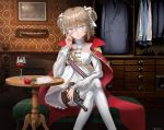 1girl absurdres alcohol ass bench blue_coat blue_eyes bow brick brocade brown_hair cape chest_of_drawers chin_rest closed_mouth closet cowboy_shot crossed_legs cup dress dress_shirt drinking_glass elbow_rest epaulettes fireplace flower frilled_dress frilled_shirt frilled_shirt_collar frills girls_frontline gold_trim gun hair_bow handgun highres holding holding_gun holding_weapon holster huge_filesize indoors keep_calm_and_carry_on knees lace leaf_print legs letter long_sleeves looking_to_the_side mingame model_ship pantyhose plaid portrait_(object) puffy_sleeves red_cape revolver ribbon rose ship shirt shoes signature sitting solo striped striped_ribbon table thigh_holster thighs translucent_shirt tsurime two_side_up wallpaper_(object) watercraft weapon webley_revolver webley_revolver_(girls_frontline) white_bow white_dress white_legwear wine wine_glass