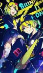 1boy 1girl bangs baseball_bat baseball_cap black_pants black_shirt black_skirt blonde_hair bow chain_necklace check_commentary commentary commentary_request crop_top grin hair_bow hair_ornament hand_on_hip hand_on_own_knee hat headphones headphones_around_neck heart heart_hair_ornament highres kagamine_len kagamine_rin kikori70796699 knee_up kneehighs looking_at_viewer midriff nail_polish one_eye_closed pants pleated_skirt rettou_joutou_(vocaloid) school_uniform shirt short_hair short_ponytail sitting skirt smile song_name spiky_hair standing swept_bangs tongue tongue_out v-shaped_eyebrows vocaloid yellow_nails