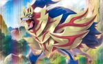 blue_sky clouds cloudy_sky creature day dog_focus gen_8_pokemon legendary_pokemon no_humans official_art outdoors pokemon pokemon_(creature) pokemon_trading_card_game saitou_kouki sharp_teeth shield sky solo standing teeth third-party_source yellow_eyes zamazenta