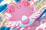 black_eyes blissey closed_mouth creature crescent_moon flower full_body gen_2_pokemon happy looking_at_viewer mahou moon night night_sky no_humans official_art outdoors pokemon pokemon_(creature) pokemon_trading_card_game sky smile solo sparkle star_(sky) third-party_source