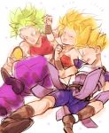 +++ 1boy 2girls :d :o ^_^ arm_up armor arms_at_sides baggy_pants bare_arms bare_shoulders bike_shorts blonde_hair blue_eyes blush boots brown_footwear cabba caulifla clenched_hands closed_eyes collarbone crop_top d89im d: dragon_ball dragon_ball_super earrings fighting_stance floral_background flower frown green_hair jewelry kale_(dragon_ball) looking_down midriff multiple_girls muscle muscular_female open_mouth outstretched_arm pants pink_flower profile purple_pants side-by-side simple_background smile spiky_hair strapless super_saiyan super_saiyan_berserk teeth tubetop upper_teeth v-shaped_eyebrows white_background wristband