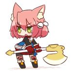 1girl 7th_dragon 7th_dragon_(series) :o animal_ear_fluff animal_ears axe bangs belt bike_shorts black_footwear black_shorts blue_jacket blush boots cat_ears chibi eyebrows_visible_through_hair gloves green_eyes hair_between_eyes hair_bobbles hair_ornament harukara_(7th_dragon) holding holding_axe jacket leaning_forward long_sleeves looking_away looking_to_the_side naga_u one_side_up open_mouth pink_hair red_gloves shadow short_shorts shorts solo standing striped striped_legwear thigh-highs thighhighs_under_boots v-shaped_eyebrows white_background white_belt
