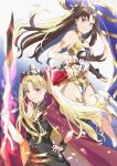 2girls armlet asymmetrical_legwear asymmetrical_sleeves bangs between_breasts bikini black_bow black_dress black_hair blonde_hair blue_background blush bow breasts bridal_gauntlets cape detached_collar dress earrings ereshkigal_(fate/grand_order) fate/grand_order fate_(series) gold_trim gradient gradient_background hair_bow heavenly_boat_maanna hoop_earrings infinity ishtar_(fate)_(all) ishtar_(fate/grand_order) jewelry long_hair long_sleeves looking_at_viewer meslamtaea_(weapon) multiple_girls neck_ring necklace parted_bangs pelvic_curtain pendant polearm red_bow red_cape red_eyes siblings single_sleeve single_thighhigh sisters skull smile spear spine swimsuit thigh-highs tiara two_side_up weapon white_bikini yishan