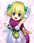1girl arm_up armpits belt blonde_hair bow child cloak dragon_quest dragon_quest_v dress endou_hiroto gloves hair_bow heart hero's_daughter_(dq5) highres looking_at_viewer open_mouth pouch purple_cloak ribbon sheath sheathed short_hair sleeveless sleeveless_dress smile solo sword thumbs_up upper_body weapon white_dress white_gloves