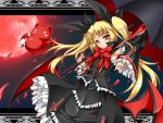 1girl bat blazblue blonde_hair capelet cat detached_sleeves dress frills gii gothic_lolita hair_ribbon lolita_fashion long_hair moon nago petals rachel_alucard red_eyes red_moon ribbon roura sky smile twintails umbrella wings