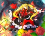 1girl bat blazblue blonde_hair blush capelet cat dress flower frills gii gothic_lolita hair_ribbon heel-less_shoes lolita_fashion long_hair nago petals rachel_alucard red_eyes ribbon rose rose_petals smile tongue tongue_out twintails umbrella