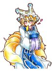1girl absurdres aburaage blonde_hair blush breasts food fox_tail goku_(acoloredpencil) hands_in_sleeves hat heart highres long_sleeves mouth_hold multiple_tails short_hair slit_pupils solo tabard tail touhou traditional_media tsurime wide_sleeves yakumo_ran yellow_eyes
