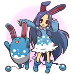 1girl animal_ears azumarill blue_hair blush_stickers bunny_ears hitec long_hair moemon open_mouth personification pokemon pokemon_(creature) pokemon_(game) pokemon_gsc simple_background smile standing tail