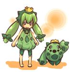 1girl barefoot black_sclera blush_stickers cacnea child costume crown green_hair hat hitec moemon open_mouth personification pokemon pokemon_(creature) pokemon_(game) pokemon_rse salute shadow simple_background sleeveless smile standing twintails