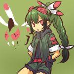 1girl costume feathers green_hair hitec moemon personification pokemon pokemon_(creature) pokemon_(game) pokemon_dppt solo yanmega