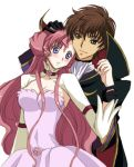 breasts brown_hair cleavage code_geass euphemia_li_britannia green_eyes hold holding kurimomo kururugi_suzaku large_breasts long_hair pink_hair purple_eyes smile violet_eyes zero_(code_geass)