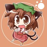 cat_ears cat_tail chen chibi earrings hat jewelry ribbon ribbons shirogane tail touhou