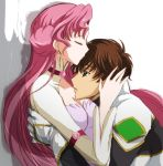 brown_hair cleavage closed_eyes code_geass euphemia_li_britannia green_eyes kiss kurimomo kururugi_suzaku long_hair pink_hair