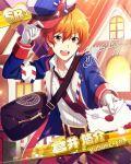 aoi_yusuke cap character_name idolmaster idolmaster_side-m jacket letter necktie orange_hair red_eyes short_hair smile