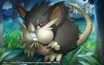 2017 alolan_form alolan_raticate brown_eyes building city full_body gen_7_pokemon grass looking_at_viewer match_(idleslumber) night night_sky official_art outdoors pokemon pokemon_trading_card_game sky standing tree watermark