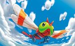 blue_eyes blue_sky clouds cloudy_sky creature day flying gen_2_pokemon no_humans official_art outdoors pokemon pokemon_(creature) pokemon_trading_card_game sky solo third-party_source yamaki_eri