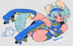 1girl :q ahoge animal animal_ears blue_eyes blue_footwear blue_gloves blue_leotard blush boots breasts chinchilla_(animal) chinchilla_ears chinchilla_tail elbow_gloves english_text gloves grey_background grey_hair highres knee_boots leotard looking_at_viewer original pac-man_eyes personification racequeen roller_skates short_hair skates small_breasts solo_focus soreeyu_(sore-yu) tail tongue tongue_out visor_cap
