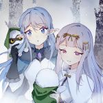2girls bangs bare_tree black_gloves blue_eyes cape day gloves hair_ornament hand_up holding liria_the_spirit_princess multiple_girls nauxii outdoors pixiv_fantasia pixiv_fantasia_age_of_starlight pointy_ears purple_empress_ranrei silver_hair simple_background snowing tree upper_body violet_eyes