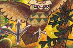 bird bird_focus claws creature flying full_body gen_2_pokemon komiya_tomokazu no_humans noctowl official_art owl pokemon pokemon_(creature) pokemon_trading_card_game red_eyes solo third-party_source