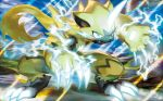 claws creature electricity full_body kawaguchi_youhei no_humans official_art pokemon pokemon_(creature) pokemon_trading_card_game solo standing third-party_source zeraora