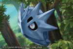 2016 creature day forest gen_2_pokemon grass match_(idleslumber) nature no_humans outdoors plant pokemon pokemon_(creature) pokemon_trading_card_game pupitar solo tree watermark