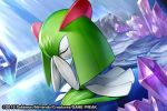 2015 closed_eyes creature crystal full_body gen_3_pokemon hands_together kirlia match_(idleslumber) no_humans official_art pokemon pokemon_(creature) pokemon_trading_card_game sitting solo stairs watermark