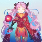 1girl bangs black_bow black_gloves blue_hair bodysuit bow breasts elbow_gloves facial_mark fate/grand_order fate_(series) forehead_mark fur_trim gloves hair_bow highres horns ishtar_(fate)_(all) long_hair looking_at_viewer multicolored_hair open_mouth parted_bangs pink_hair red_bodysuit shiseki_hirame solo space_ishtar_(fate) star star-shaped_pupils symbol-shaped_pupils thighs two-tone_hair two_side_up yellow_eyes