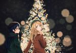 2girls ayase_eli blonde_hair blue_eyes blue_hair christmas_tree coat commentary_request hair_down hat long_hair looking_at_viewer looking_back love_live! love_live!_school_idol_project multiple_girls scarf sonoda_umi suito yellow_eyes