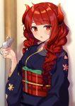 1girl absurdres animal_on_hand blue_kimono blush chinese_zodiac dola_(nijisanji) dragon_girl dragon_horns fang highres horns japanese_clothes kimono long_hair long_sleeves looking_at_viewer mouse nana_(nana_yume87) nijisanji obi open_mouth red_eyes redhead sash solo virtual_youtuber year_of_the_rat