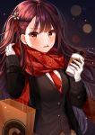 1girl absurdres bag bangs black_cardigan black_coat brown_hair brown_skirt cardigan coat cup eyebrows_visible_through_hair floating_hair girls_frontline gloves highres holding huge_filesize lens_flare long_hair myowa necktie open_clothes open_coat open_mouth paper_bag plaid plaid_skirt print_scarf red_eyes red_neckwear red_scarf scarf shiny shiny_hair skirt snowflake_print solo teacup upper_body very_long_hair wa2000_(girls_frontline) white_gloves