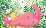 creature fangs flower from_side full_body gen_1_pokemon grass lying nakai_mina no_humans official_art on_back outdoors plant pokemon pokemon_(creature) pokemon_trading_card_game profile slowpoke solo third-party_source
