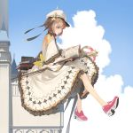 1girl blue_eyes blush book book_stack bow brown_hair clouds cloudy_sky dress eyebrows_visible_through_hair hat highres holding holding_book medium_hair open_book original outdoors parted_lips pink_footwear red_bow red_neckwear silhouette sitting sky solo somehira_katsu staff teeth upper_teeth white_dress white_headwear