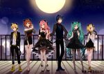 2boys 4girls animal_ears aqua_eyes aqua_hair asagao_minoru backlighting black_dress black_jacket black_pants black_shirt black_skirt black_vest blonde_hair blue_eyes blue_hair blue_neckwear brown_eyes brown_hair cat_ears cityscape claw_pose commentary detached_collar dress everyone formal full_moon hand_on_hip hand_on_own_cheek hand_up hands_in_pockets hatsune_miku jacket kagamine_len kagamine_rin kaito long_hair looking_at_viewer megurine_luka meiko moon multiple_boys multiple_girls neck_ribbon necktie night night_sky open_mouth outdoors pants pantyhose pink_hair railing ribbon shadow shirt short_hair short_sleeves skirt skirt_hold sky slippers smile spots standing star_(sky) starry_sky strapless strapless_dress suit twintails very_long_hair vest vocaloid white_shirt wide_shot yellow_neckwear