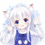 1girl :d ahoge animal_ear_fluff animal_ears blue_dress blue_eyes blue_ribbon blush cat_ears collared_dress commentary_request dress fang fengli_(709622571) floral_background flower hair_flower hair_ornament hair_ribbon hands_up head_tilt highres long_hair long_sleeves looking_at_viewer open_mouth original pink_flower pom_pom_(clothes) ribbon shirt sleeveless sleeveless_dress smile solo star star_hair_ornament upper_body white_background white_hair white_shirt
