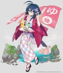 1girl ahoge bangs blue_eyes blue_hair blush bucket butterfly_hair_ornament floral_print full_body geta hair_ornament highres holding holding_bucket japanese_clothes kimono mochizuki_kei nail_polish official_art onsen onsen_symbol parted_lips pink_nails pointy_ears rena_lanford rubber_duck short_hair solo star_ocean star_ocean_anamnesis star_ocean_the_second_story towel yukata