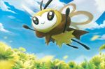 blue_sky closed_mouth clouds cloudy_sky creature flower flying full_body gen_7_pokemon happy hasuno_(poketcg) no_humans official_art open_arms outdoors pokemon pokemon_(creature) pokemon_trading_card_game ribombee sky smile solo third-party_source