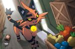 cat cat_focus claws creature food fruit full_body no_humans official_art oran_berry pinap_berry pokemon pokemon_(creature) pokemon_trading_card_game sakuma_sanosuke sitrus_berry solo tamato_berry third-party_source