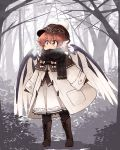 1girl alternate_costume animal_ears beanie bird_ears bird_wings black_scarf boots breath brown_capelet brown_eyes brown_footwear brown_headwear capelet commentary_request cross-laced_footwear forest full_body gloves hat highres kaginoni lace-up_boots long_sleeves mystia_lorelei nature outdoors redhead scarf solo touhou tree white_coat wings winter