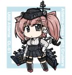 1girl anchor_hair_ornament atlanta_(kantai_collection) black_footwear black_headwear black_skirt boots breasts brown_hair character_name dress_shirt earrings garrison_cap garter_straps gloves grey_eyes hair_ornament hat high-waist_skirt jewelry kantai_collection large_breasts long_hair long_sleeves machinery orisa-ex partly_fingerless_gloves shirt skirt solo standing star star_earrings suspender_skirt suspenders thigh_strap two_side_up white_background white_gloves white_shirt