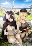 2girls antelope_ears antelope_horns bare_shoulders black_cape black_gloves black_hair black_headwear black_shirt blackbuck_(kemono_friends) blonde_hair blue_eyes bow bowtie calenda_(kemono_friends_3) camouflage camouflage_pants cape clothes_around_waist commentary_request detached_sleeves eyebrows_visible_through_hair fingerless_gloves frilled_shorts frills gloves hair_over_one_eye hair_tie hat hat_feather kemono_friends kemono_friends_3 koruse long_hair multicolored_hair multiple_girls official_art pants reading red_eyes shirt short_hair shorts sitting sleeveless sweater_around_waist tank_top thigh_pouch translated white_gloves white_hair white_neckwear white_shirt white_shorts