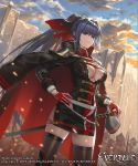 1girl bangs battlefield black_dress blue_hair blue_sky breasts cape cleavage_cutout closed_mouth clouds commentary_request cuboon dress evertale gloves green_eyes hair_between_eyes hair_intakes hand_on_hip high_ponytail holding holding_sword holding_weapon jacket_on_shoulders knight large_breasts long_hair looking_at_viewer looking_to_the_side military military_uniform miniskirt official_art red_gloves red_ribbon ribbon sheath sheathed side_slit skirt sky standing sword thigh-highs thighs uniform very_long_hair wall weapon