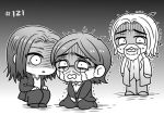 3boys age_difference beard black_hair blonde_hair brothers chibi coat crying crying_with_eyes_open eren_yeager facial_hair family father_and_son formal glasses grisha_yeager hood hoodie jacket jaku_711 long_hair medium_hair monochrome multiple_boys older open_mouth sad seiza shaded_face shingeki_no_kyojin shirt siblings sitting squatting standing suit surprised tears whispering zeke_yeager