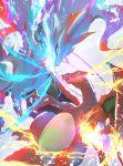 blue_eyes charizard commentary_request creature dragon energy fangs fire flying gen_1_pokemon gen_5_pokemon multiple_sources no_humans otsumami_(bu-bu-heaven) pokemon pokemon_(creature) pokemon_trading_card_game reshiram